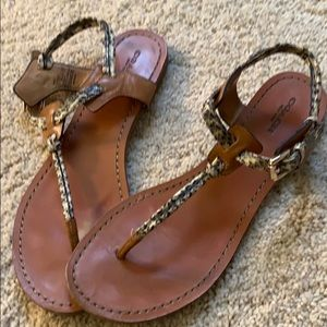Coach leather sandals with snakeskin strap
